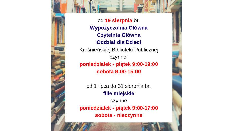 Informacja o godzinach otwarcia biblioteki