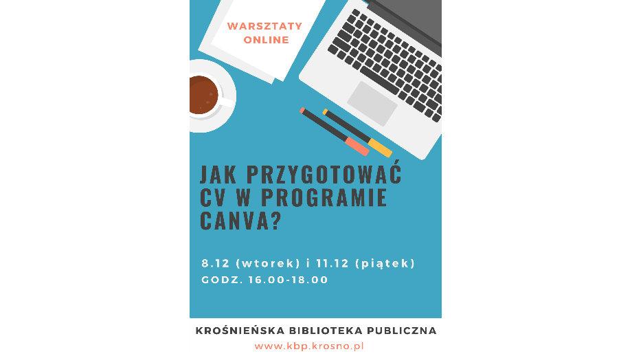Jak przygotować profesjonalne CV w bezpłatnym programie Canva? Warsztat online w Krośnieńskiej Bibliotece Publicznej