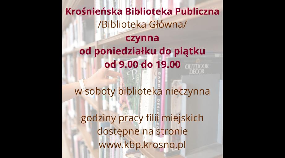 grafika z informacją o godzinach otwarcia Krośnieńskiej Biblioteki Publicznej
