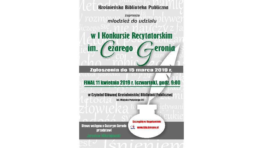 I Konkurs Recytatorski im. Cezarego Geronia